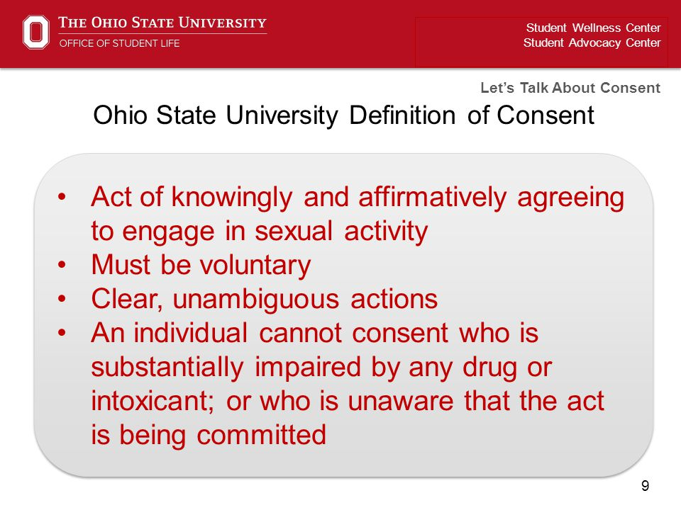 Ohio State University Definition of Consent