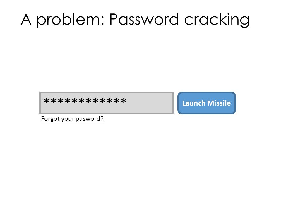 A problem: Password cracking