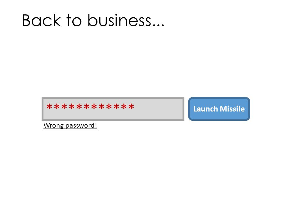 Back to business... ************ Launch Missile Wrong password!