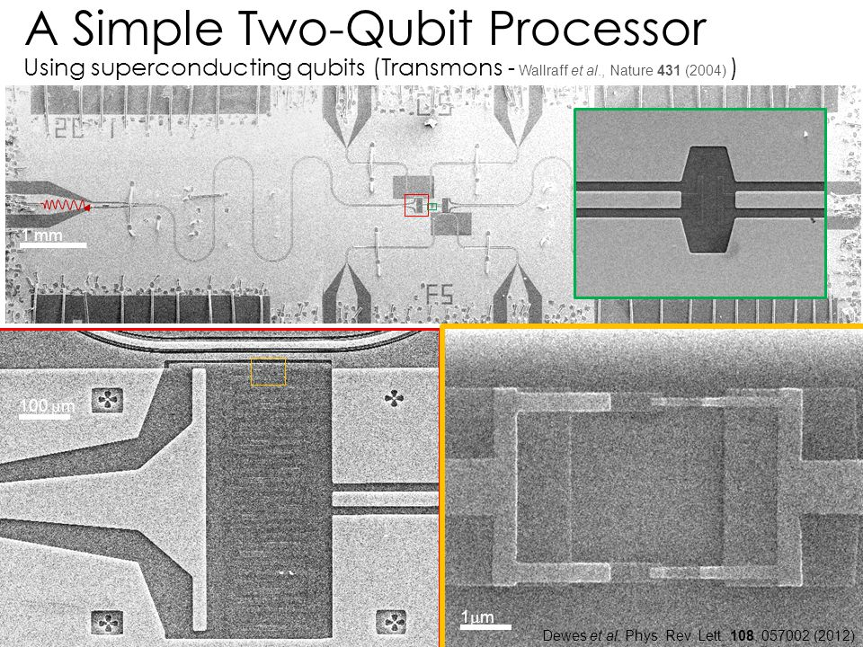 A Simple Two-Qubit Processor Using superconducting qubits (Transmons - Wallraff et al., Nature 431 (2004) )