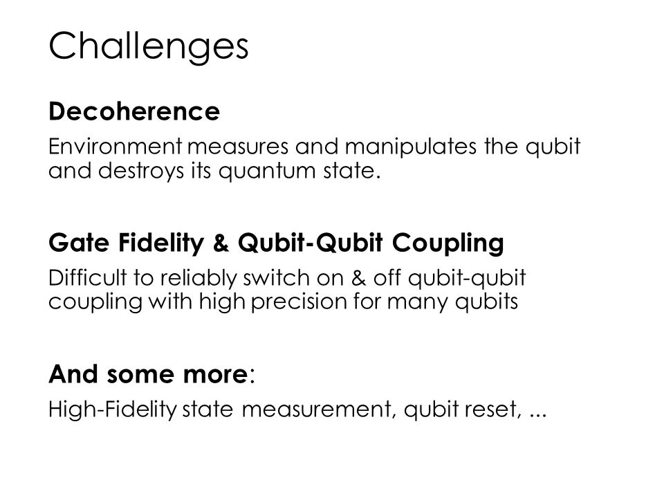 Challenges Decoherence Gate Fidelity & Qubit-Qubit Coupling
