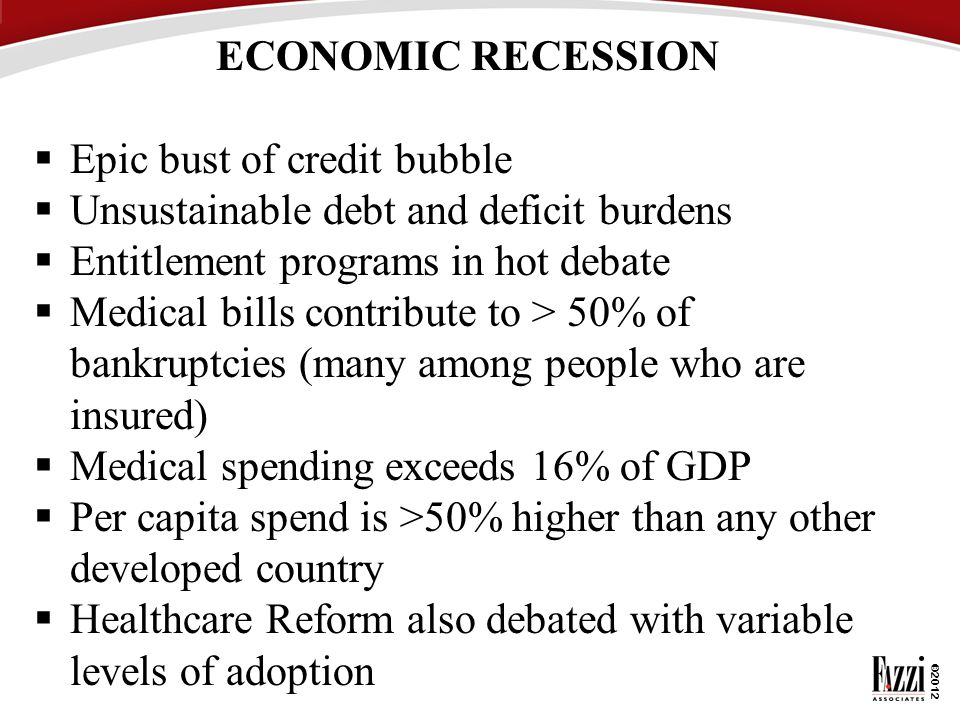 ECONOMIC RECESSION Epic bust of credit bubble. Unsustainable debt and deficit burdens. Entitlement programs in hot debate.