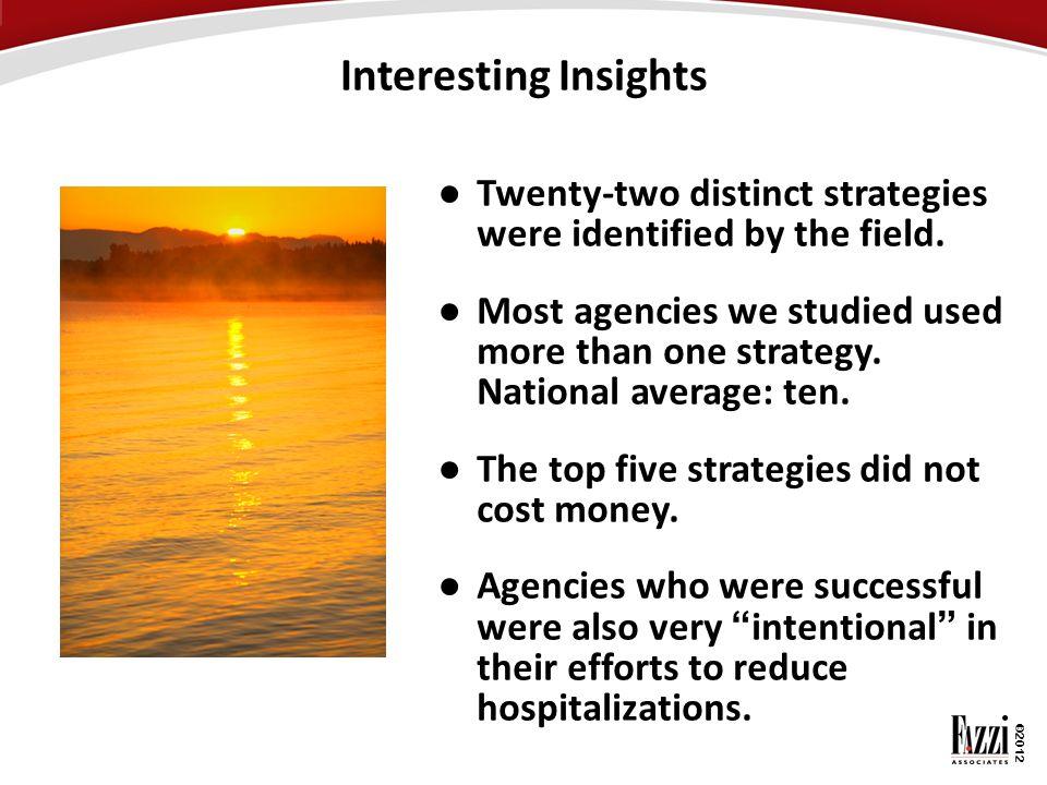 Interesting Insights Twenty-two distinct strategies were identified by the field.