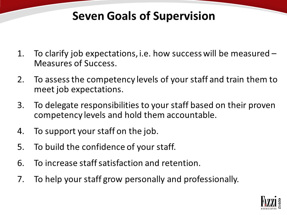 Seven Goals of Supervision