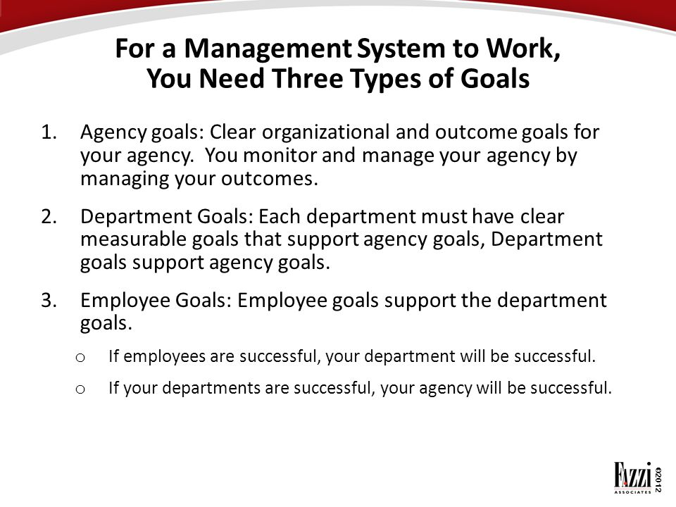 For a Management System to Work, You Need Three Types of Goals