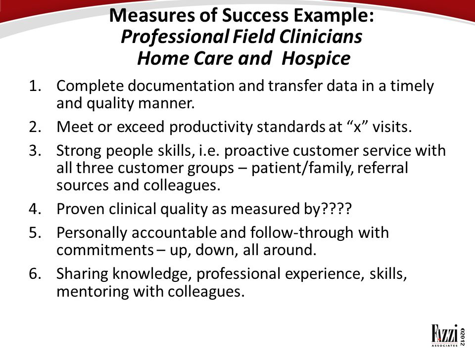 Measures of Success Example: Professional Field Clinicians Home Care and Hospice