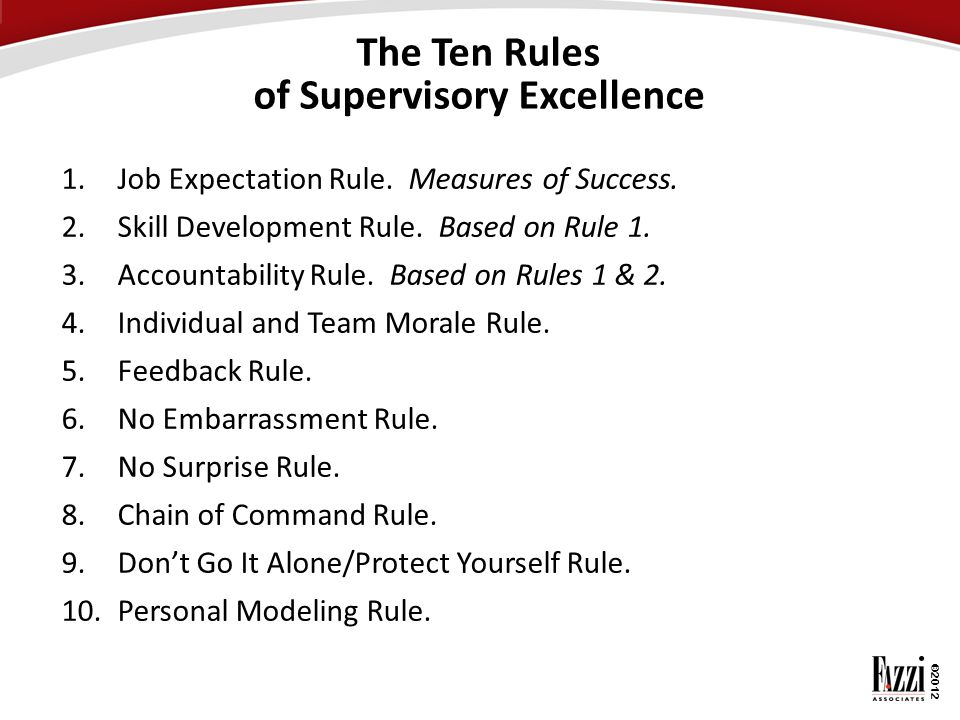 The Ten Rules of Supervisory Excellence