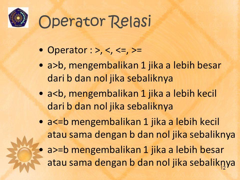 Operator Relasi Operator : >, <, <=, >=