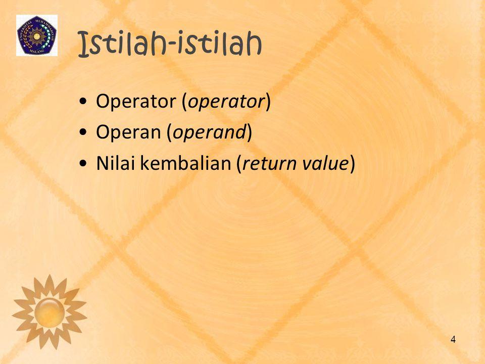 Istilah-istilah Operator (operator) Operan (operand)