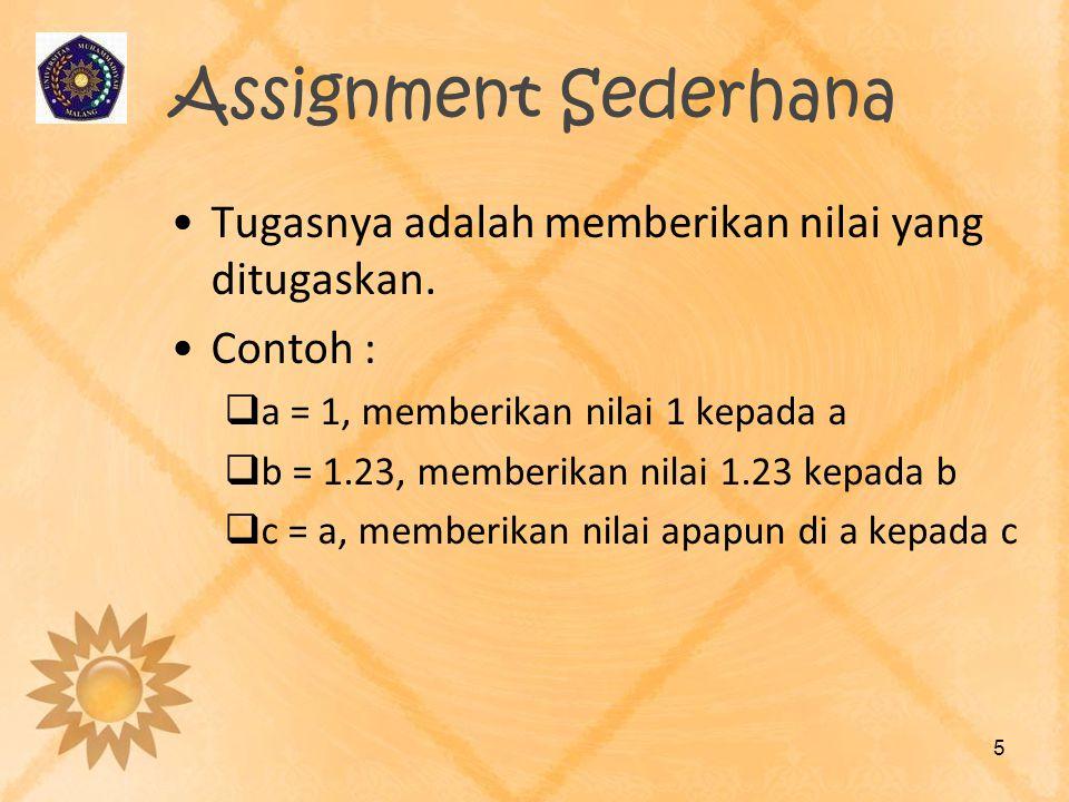 Assignment Sederhana Tugasnya adalah memberikan nilai yang ditugaskan.