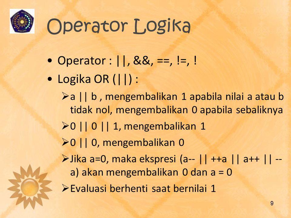 Operator Logika Operator : ||, &&, ==, !=, ! Logika OR (||) :