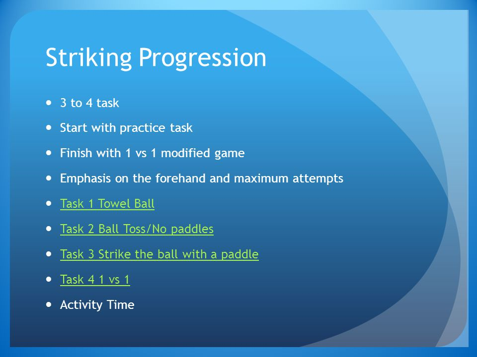 Striking Progression 3 to 4 task Start with practice task