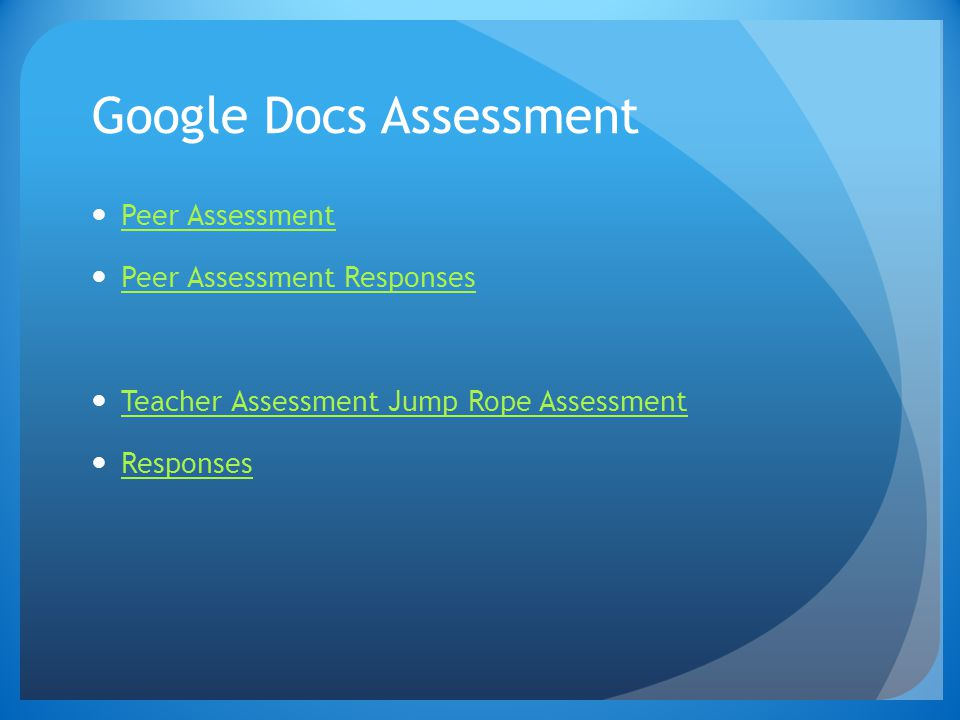Google Docs Assessment