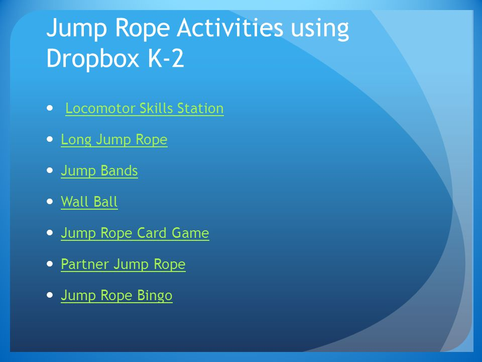 Jump Rope Activities using Dropbox K-2