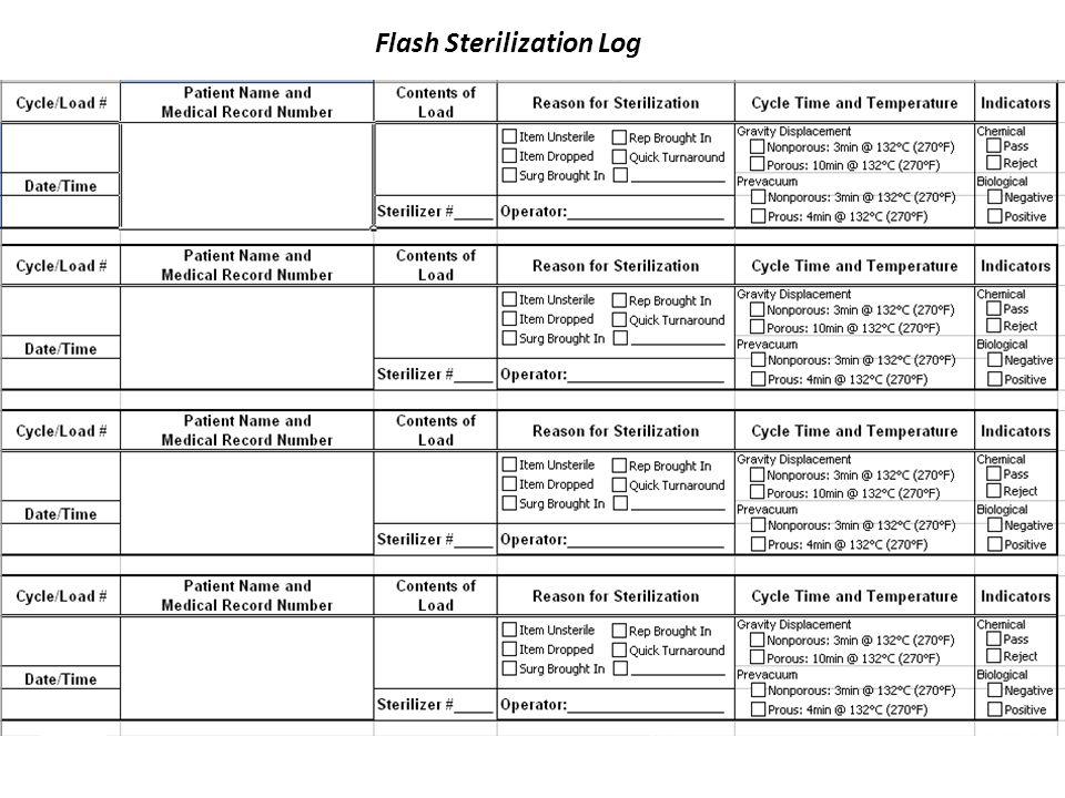 Flash Sterilization Log