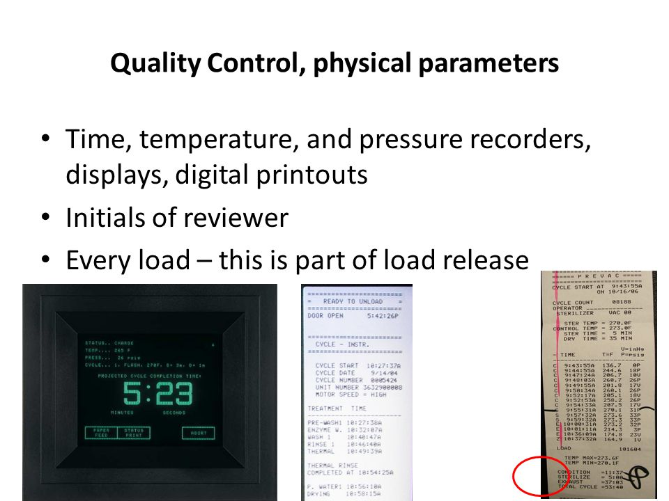 Quality Control, physical parameters