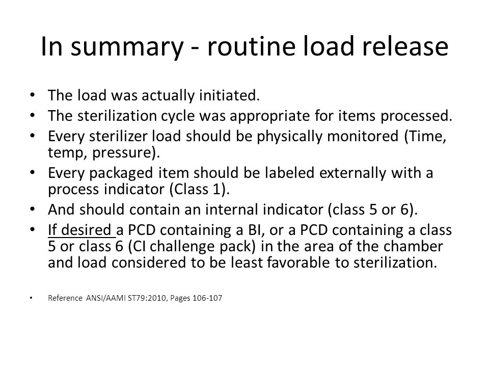 In summary - routine load release
