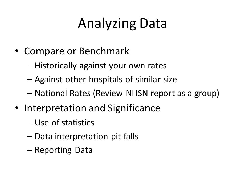 Analyzing Data Compare or Benchmark Interpretation and Significance