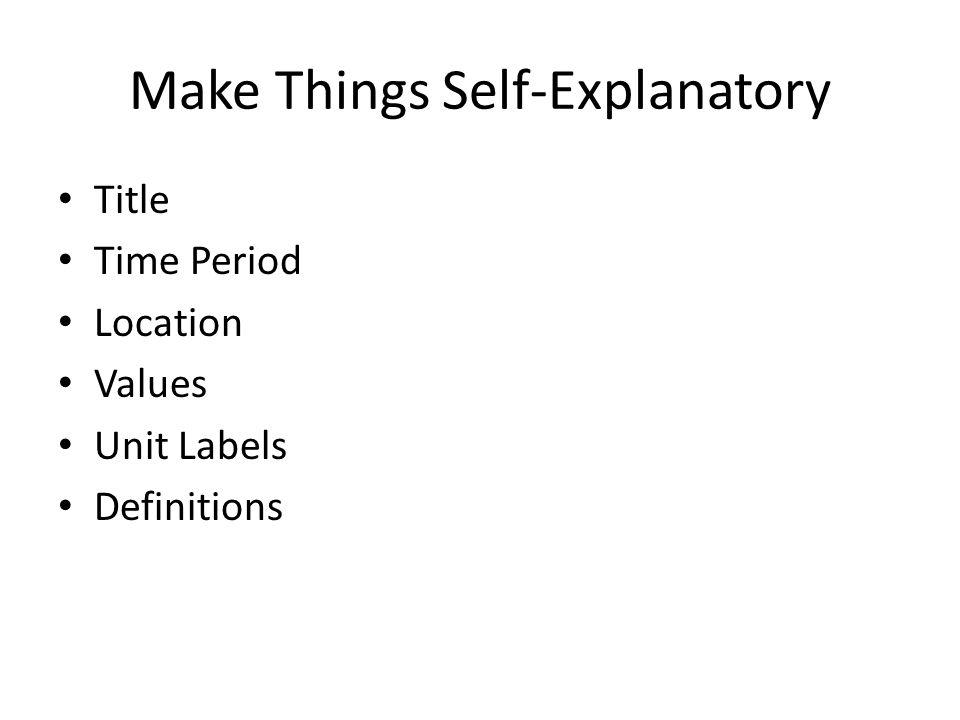 Make Things Self-Explanatory