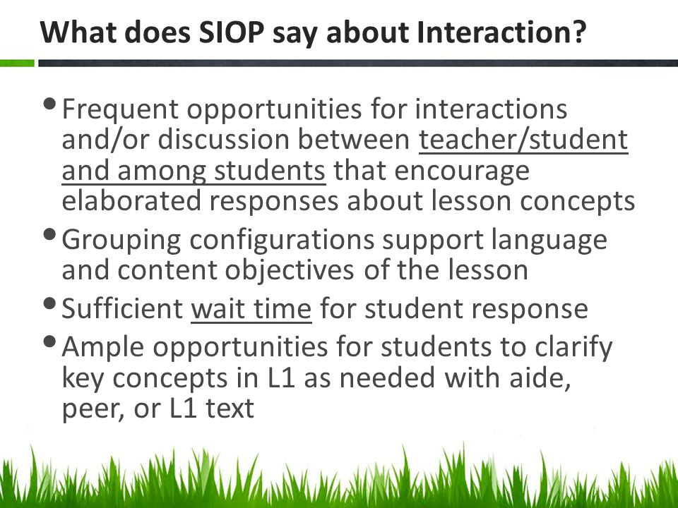What does SIOP say about Interaction