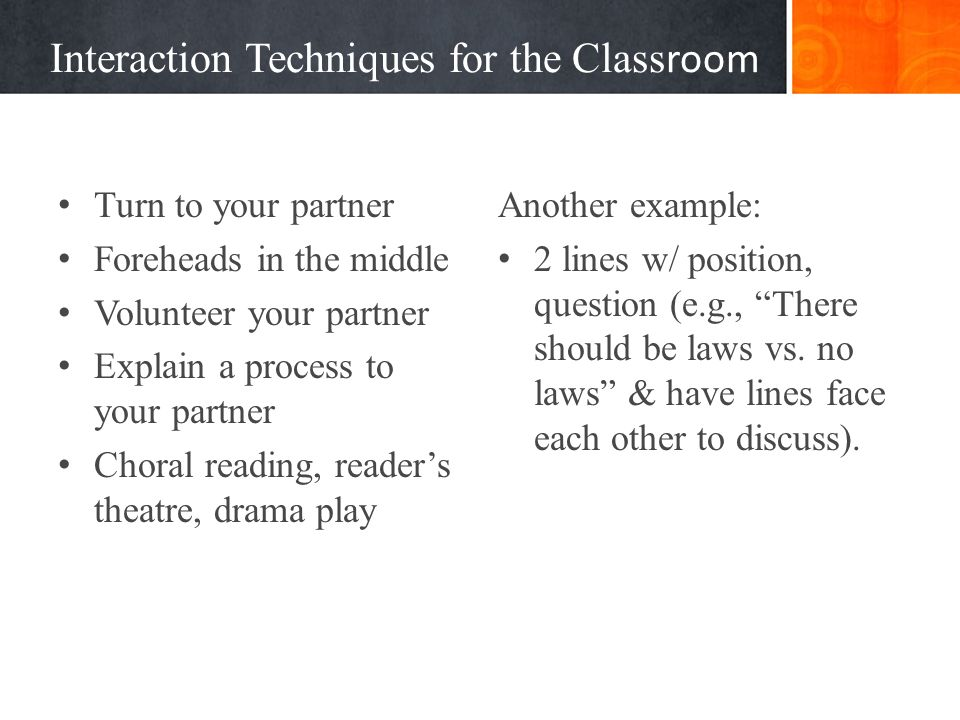 Interaction Techniques for the Classroom