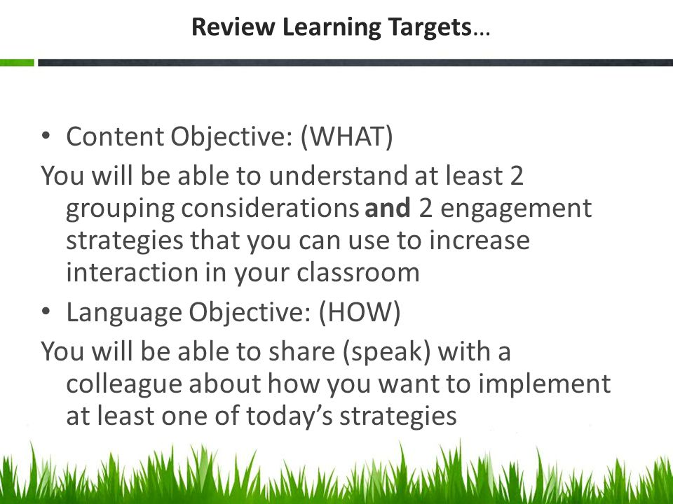 Review Learning Targets…
