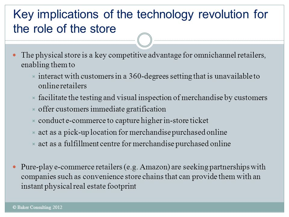 Key implications of the technology revolution for the role of the store