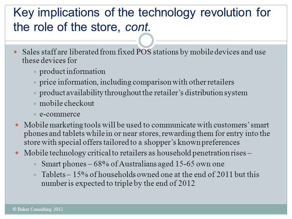 Key implications of the technology revolution for the role of the store, cont.