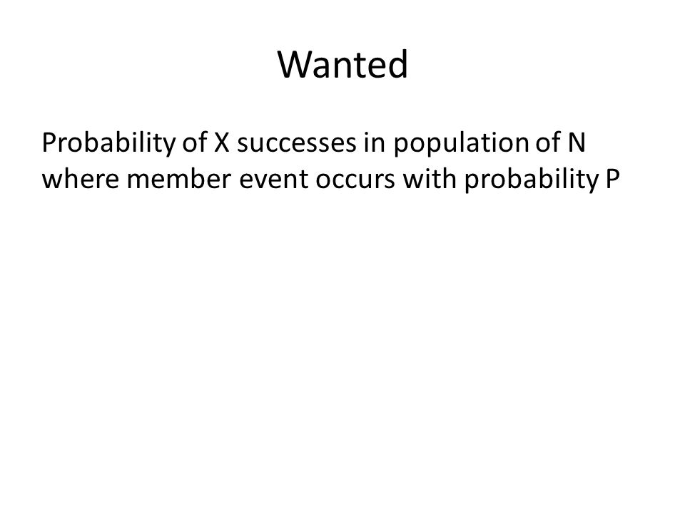 Wanted Probability of X successes in population of N where member event occurs with probability P