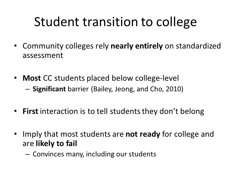Student transition to college