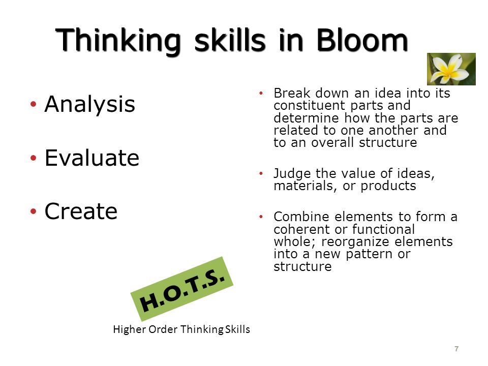 Thinking skills in Bloom