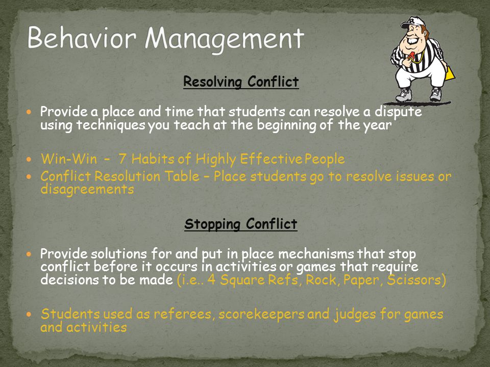 Behavior Management Resolving Conflict