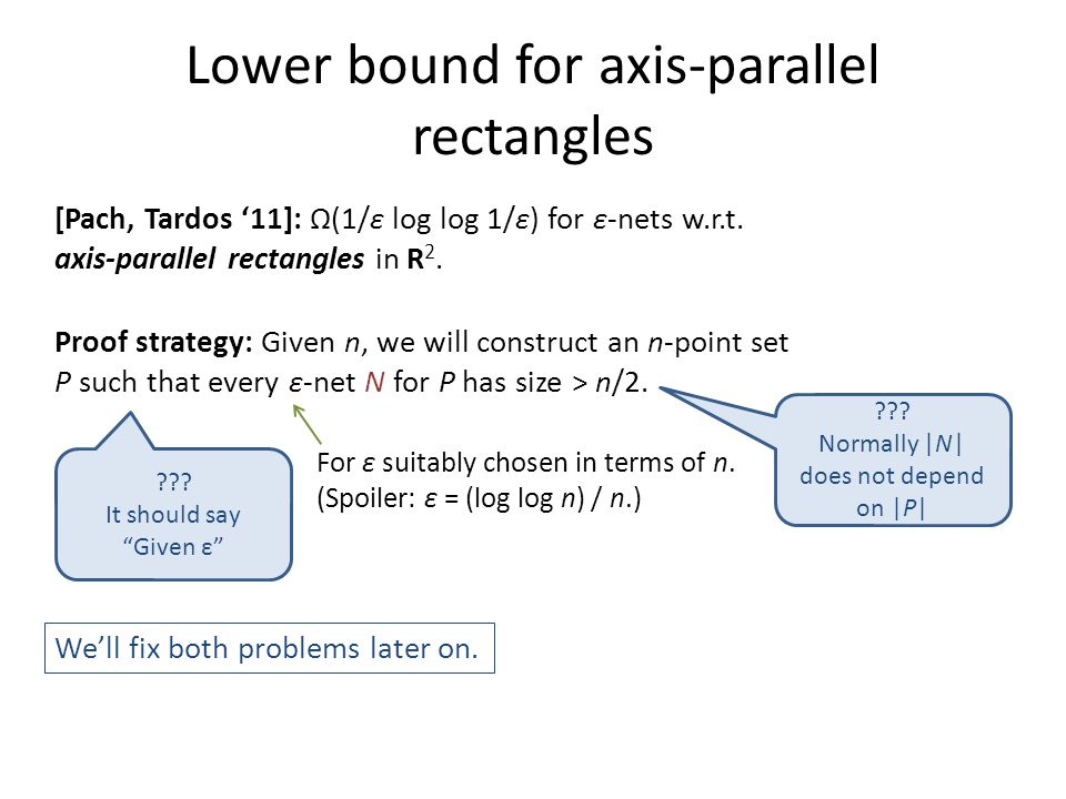 Lower bound for axis-parallel rectangles