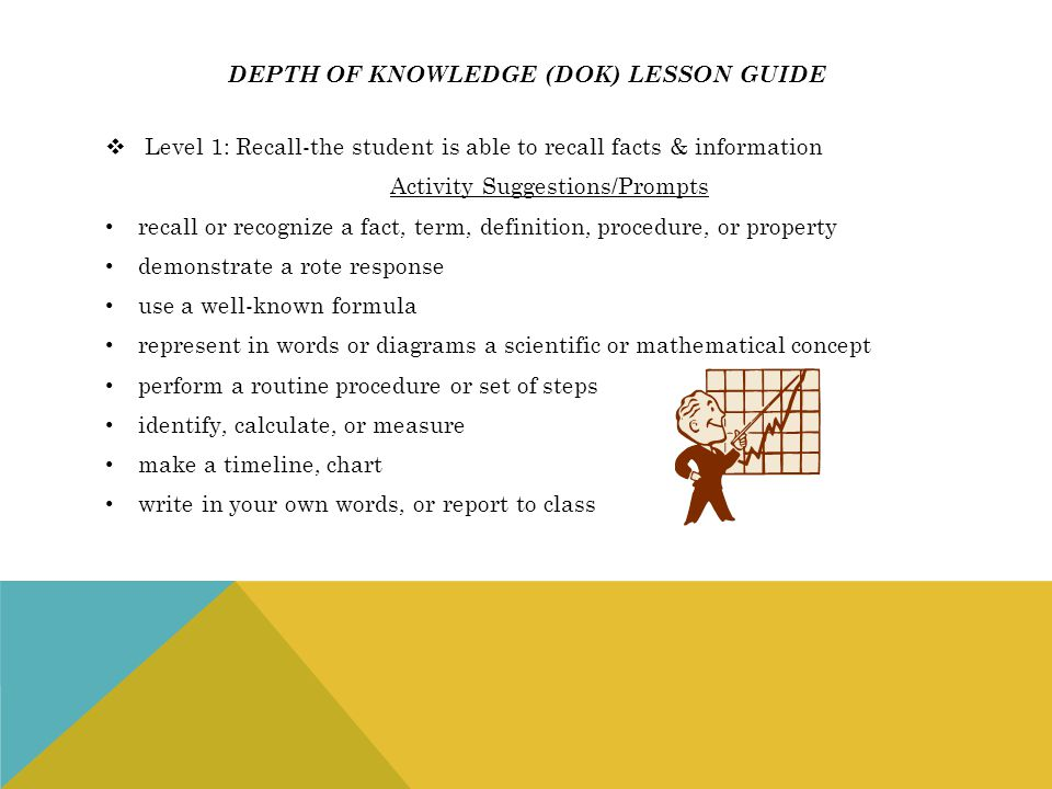 Depth of knowledge (dok) lesson guide
