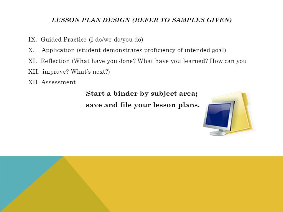 Lesson plan design (refer to samples given)