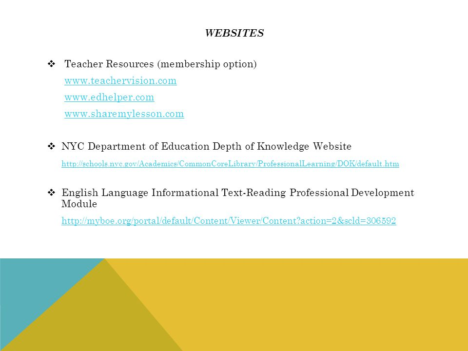 websites Teacher Resources (membership option) www.teachervision.com. www.edhelper.com. www.sharemylesson.com.