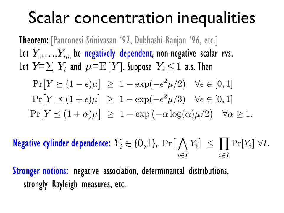 Scalar concentration inequalities