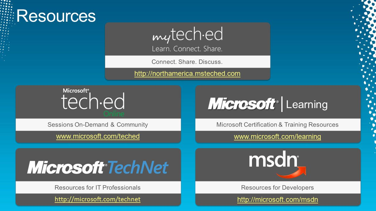 Resources Learning http://northamerica.msteched.com