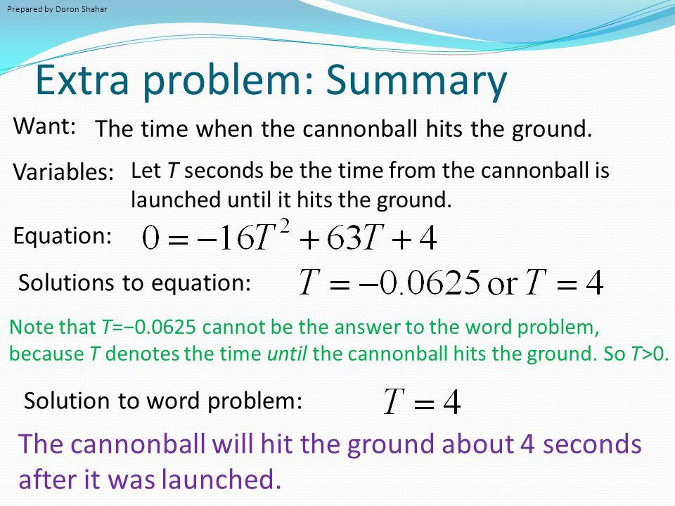 Extra problem: Summary