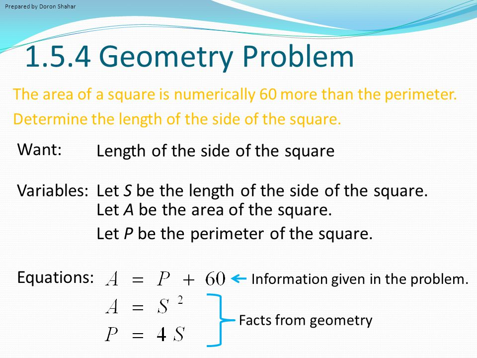 1.5.4 Geometry Problem Want: Length of the side of the square