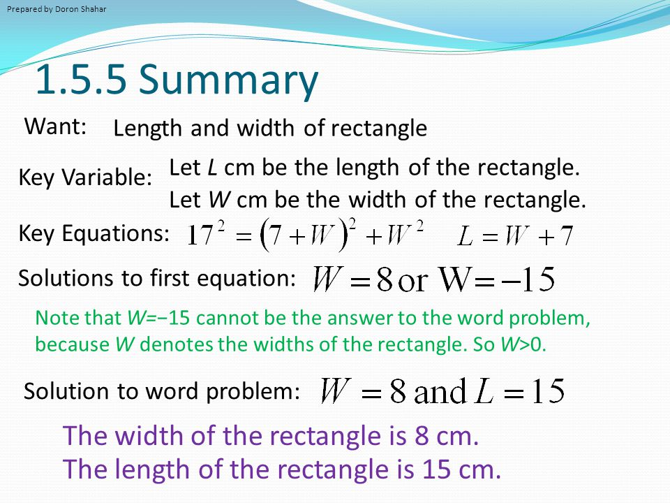 1.5.5 Summary The width of the rectangle is 8 cm.