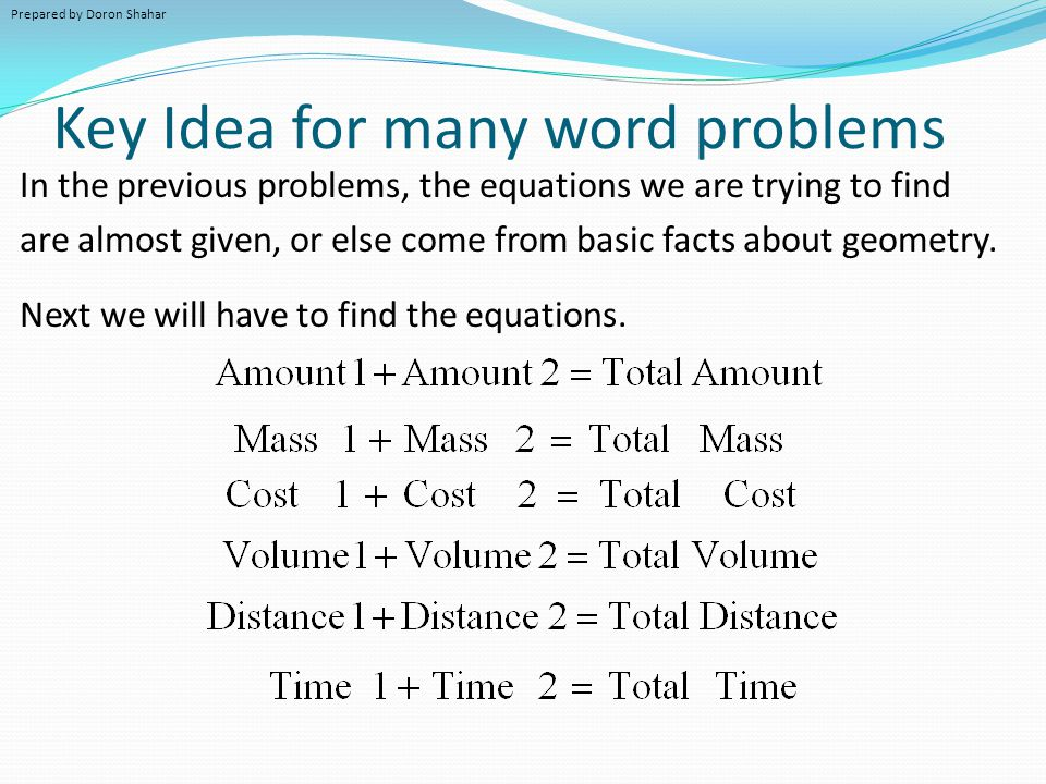 Key Idea for many word problems