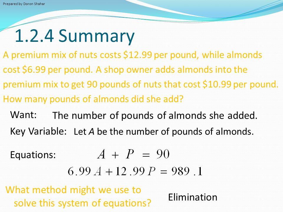 1.2.4 Summary Want: The number of pounds of almonds she added.