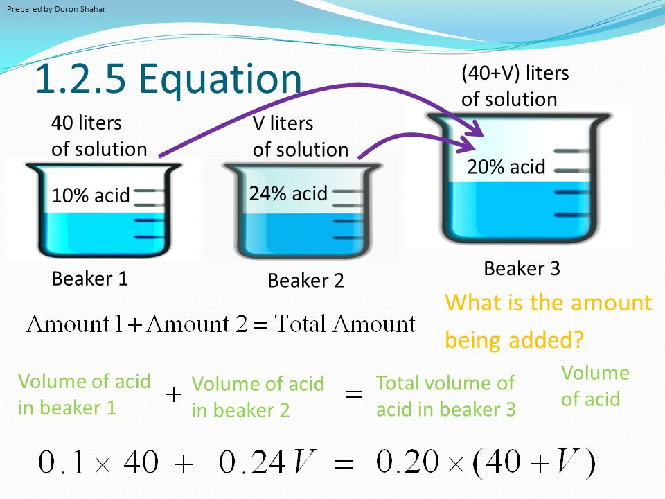 1.2.5 Equation What is the amount being added (40+V) liters