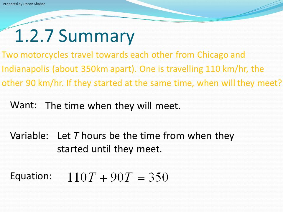 1.2.7 Summary Want: The time when they will meet. Variable: