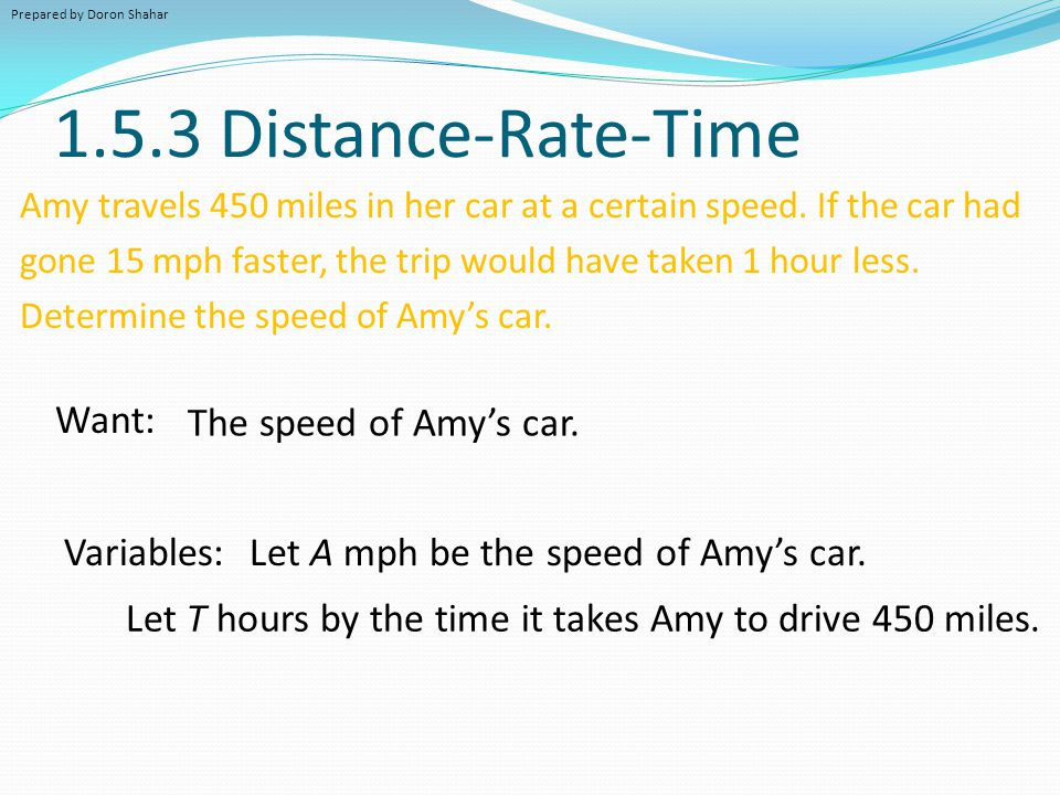 1.5.3 Distance-Rate-Time Want: The speed of Amy's car. Variables: