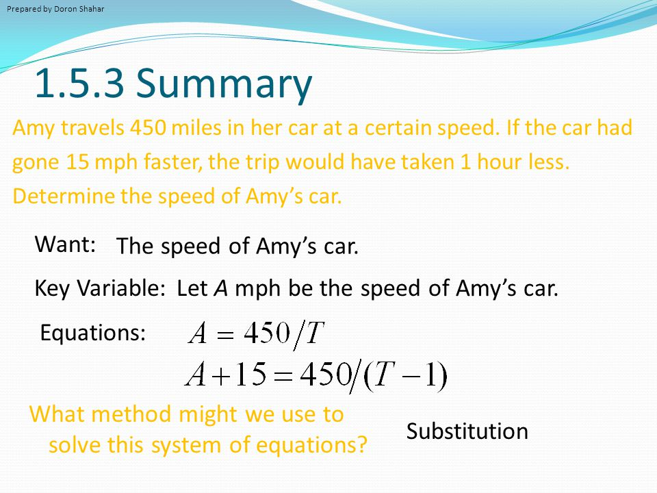 1.5.3 Summary Want: The speed of Amy's car. Key Variable: