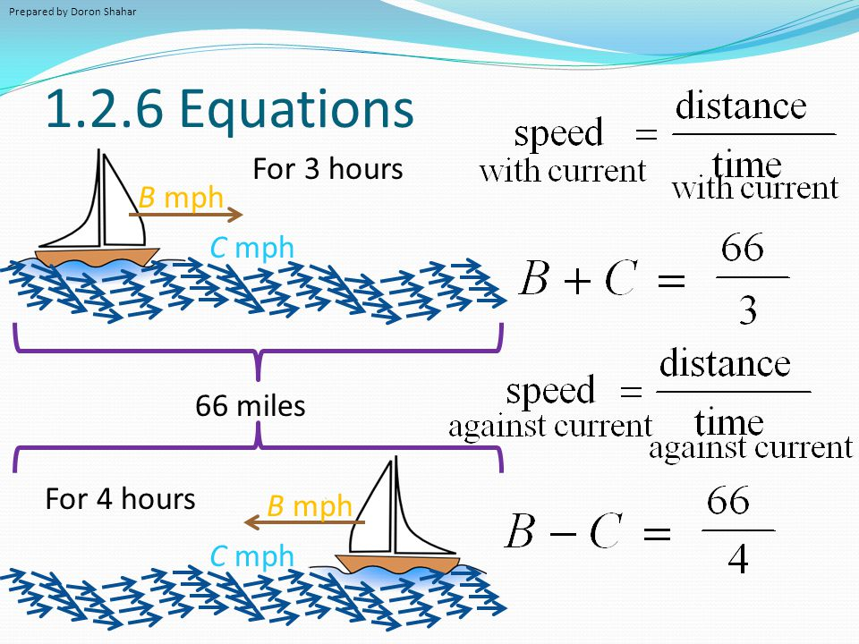1.2.6 Equations For 3 hours B mph C mph 66 miles For 4 hours B mph