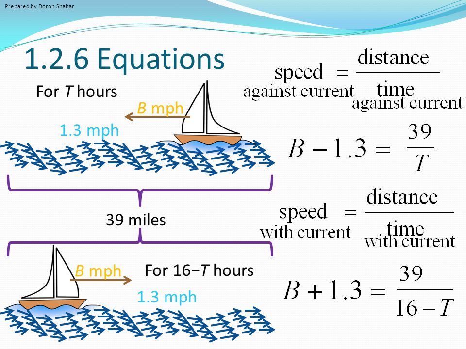 1.2.6 Equations For T hours B mph 1.3 mph 39 miles B mph