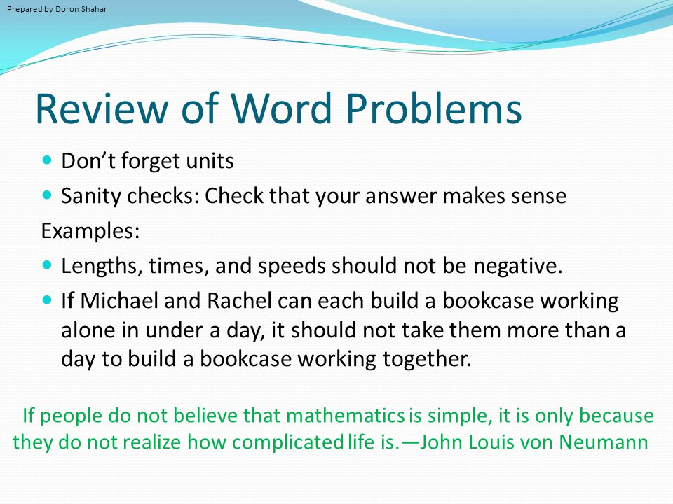 Review of Word Problems